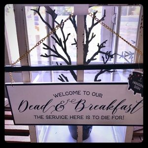 NWT Halloween Dead and Breakfast Sign